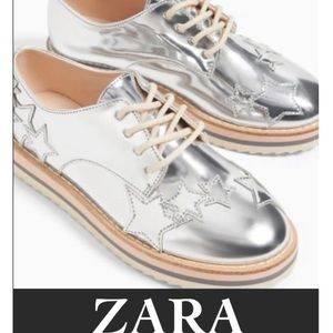 Authentic Zara silver star lace up shoes girls 4